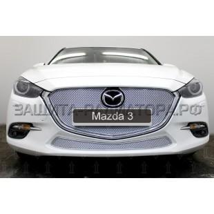 защита радиатора премиум Мазда 3 (Mazda 3) III рестайлинг 2016-2020 г.в.