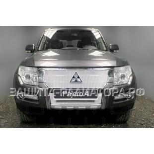 защита радиатора премиум Митсубиси Паджеро 4 (Mitsubishi Pajero IV) рестайлинг 2 2014-2020 г.в.
