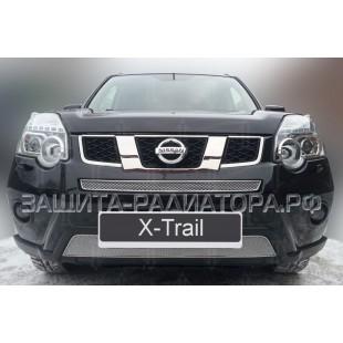 защита радиатора премиум Ниссан Х-Трейл (Nissan X-Trail) II рестайлинг 2011-2015 г.в.