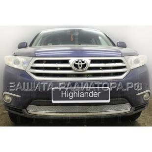 защита радиатора премиум Тойота Хайлендер (Toyota Highlander) (II U40 рестайлинг) 2011-2014 г.в.