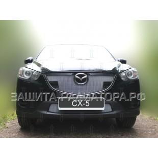 защита радиатора Мазда CX-5 (Mazda CX-5) рестайлинг 2015-2017 г. в. с парктроником