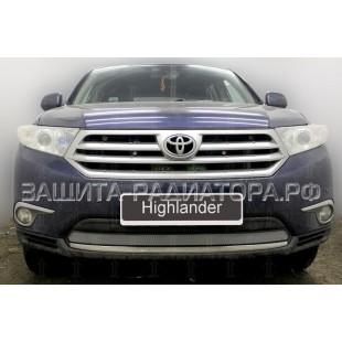защита радиатора Тойота Хайлендер (Toyota Highlander) II рестайлинг 2010-2013 г.в.