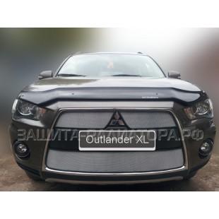 защита радиатора Митсубиси Аутлендер 2 (Mitsubishi Outlander II) рестайлинг 2010-2012 г.в.