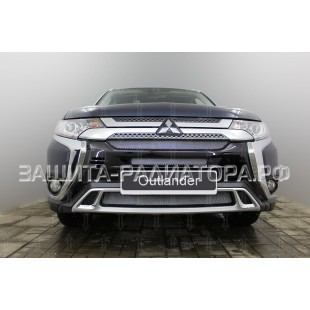 защита радиатора Митсубиси Аутлендер 3 (Mitsubishi Outlander III) рестайлинг 3 2018-2019 г.в.