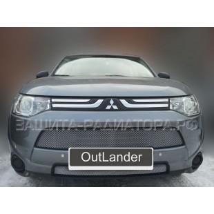 защита радиатора Митсубиси Аутлендер 3 (Mitsubishi Outlander III) 2012-2015 г.в.