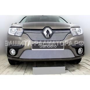 защита радиатора Рено Сандеро (Renault Sandero) II рестайлинг 2018-2019 г.в.